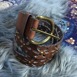 Brown Floral Vegan Leather Boho Belt